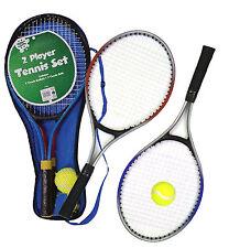 Kids Metal Junior Tennis Set 2 Racket Raquets Ball Outdoor Toy Playset