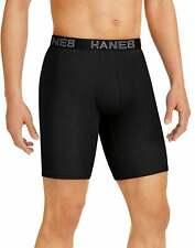 Hanes Men's Ultimate Comfort Flex Fit Long Leg Boxer Brief 4-Pack Black/Grey