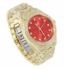 Men Ice Bling Rapper Lab Diamond Red Face Metal Band Gold Hip Hop Luxury Watch