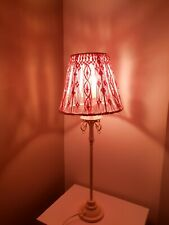One Of A Kind Pink Macrame Lamp Shade With Swarovski Pink Crystals