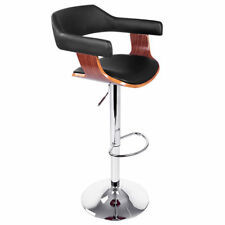 Wooden Bar Stool Kitchen Cafe Dining Chair Black PU Leather Selina 8006