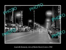 OLD LARGE HISTORIC PHOTO OF LOUISVILLE KENTUCKY, VIEW OF MARKET St & STORES 1960