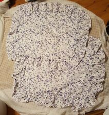 """Pair of Ruffled Pillow Shams-White w/ Purple Flowers-For 27"""" x 20"""" Pillow"""