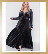 Maitai Plus Size 1XL Black Surplice Long Velvet Dress NEW