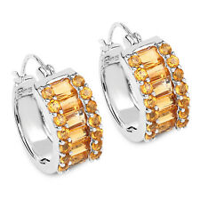 Hoop Earrings w/ 5.56 ct Genuine Citrine Baguette & Round 925 Sterling Silver