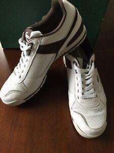 Men's Lacoste Sz. 11 REIJO BX Sneakers Lace Up Shoes White/Java Leather
