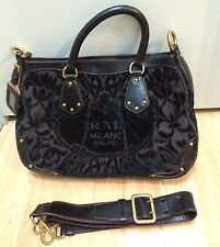 PRADA Crossbody Purse Bag Brown Velvet Embroidered Logo & Leather Trim $1400