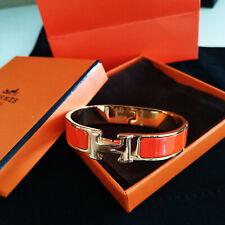 Hermes H Clic Clac Narrow Bracelet PM Orange Enamel Gold Cuff Bangle