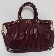 Coach Madison Bordeaux Gathered Leather Sophia Satchel Handbag Purse 18620  EUC