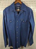 Wrangler Mens Pearl Snap Long Sleeve Button Front Denim Blue Shirt Size LT/XLT