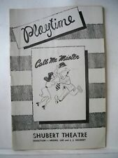 CALL ME MISTER Playbill BETTY KEAN / BOB FOSSE / BUDDY HACKETT Tour 1946