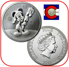 2020 Niue Disney Mickey Mouse Christmas 1 oz Silver $2 Coin - in capsule