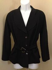 "Vintage Classic Thierry Mugler Navy  Belted Wool Jacket 3/4"" Sleeve SZ  42 US 12"