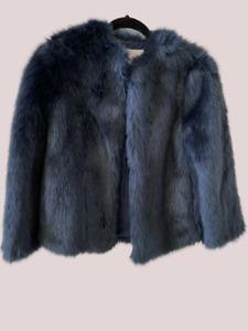 Zara Ladies Faux Fur Jacket Navy UK Small RRP £39.99 LN016 MM 10