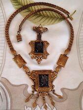 Antique Victorian Jet Intaglio Set Demi Parure Necklace & Brooch Gold Filled