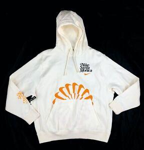 Nike Santa Monica BRS Blue Ribbon Sports Pullover Hoodie White Orange Mens Large