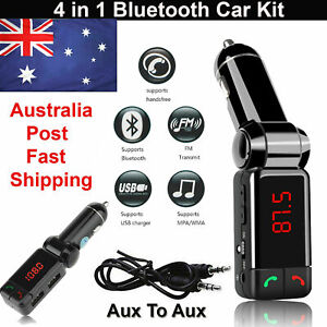 Wireless Bluetooth FM Transmitter Hands-free Car Charger USB MP3 Player Kit AU