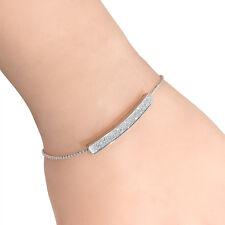 Silver Gold Crystal Pave Bar Slider Bracelet Adjustable Drawstring Tightening