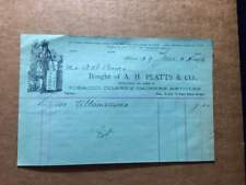 1894 Billhead for A.H. PLATTS & Co. Ithaca, NY Tobacco, Cigars, Smokers Products