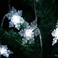 3.3M LED Christmas Snowflake Fairy Light Clear White 20 Bulbs Xmas Home Party