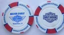 WATERLOO, IA SILVER EAGLE HARLEY DAVIDSON POKER CHIP (WHITE RED & BLUE) IOWA
