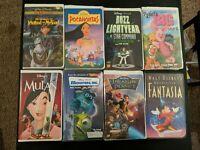 Walt Disney Animated Movies VHS Lot of 8 Mulan Fantasia Pocahontas Clamp Shell