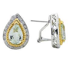 14K WHITE YELLOW TWO TONE GOLD DIAMOND MILGRAIN GREEN AMETHYST TEARDROP EARRINGS