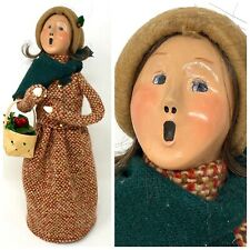 """13"""" BYERS CHOICE CAROLER – LADY IN TWEED SUIT, BASKET OF HOLLY 1993"""
