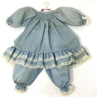 Vintage Dolls By Pauline Blue Doll Dress With Bloomers