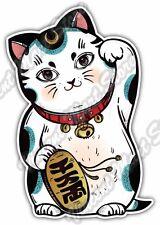 "Maneki-Neko Lucky Cat Cute Money Fortune Car Bumper Vinyl Sticker Decal 3.5""X5"""