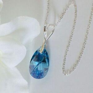 Made With Swarovski® Crystals 925 Silver Necklace Pendant Tear Pear Aquamarine