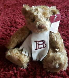 "NEW Burberry Teddy Bear Monogram Scarf Letter B Fragrance Longhair 11"" Sits NWT"