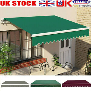 Retractable Garden Patio Awning Canopy Manual Shelter Sun Shade 3 Color Sizes UK