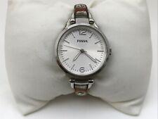Fossil Women Watch Silver Tone Genuine Leather Band Analog Ladies Wrist Watch