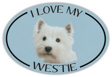 Oval Dog Breed Picture Car Magnet - I Love My Westie (West Highland Terrier)