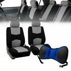 Front Bucket Seat Covers Gray With Seat Back Cushion Pad Blue For Auto Car Suv