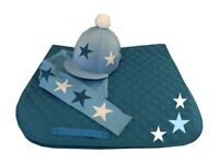 Bleu Marine//Or rose cross country Cheval Set Fausse Fourrure Pompon