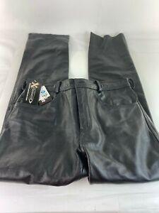 New Men's Xelement Motorcycle Black Leather Pants Size 32 B7400