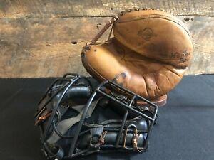 Vintage 1950s Revelation Catchers Mitt Mask Baseball Glove Old Antique
