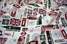 LONDON BUS BIG BEN UNION JACK PRINT FABRIC 44'W for Dress Drape Craft Lining