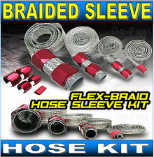 BRAIDED HOSE SLEEVE KIT WITH RED ALUMINIUM CLAMP COVERS