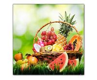 Küchenbild Früchtekorb gerahmt XXL Löwe Raubkatze Bild auf Leinwand Druck Deko