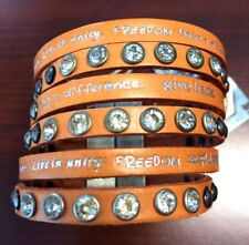 Humanity Inspire with Kindness Cuff Bracelet w Studs Crystals Orange