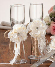 Burlap Glass Set Wedding Toast Glasses Vintage Country