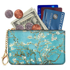 Zip Keychain Pouch Coin Purse RFID Blocking PU Leather Case Card Holder Wallet