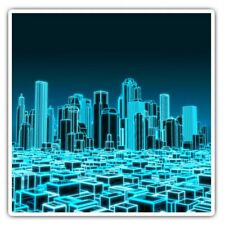 2 x Square Stickers 7.5 cm - 3D Holographic City Urban Cool Gift #2399