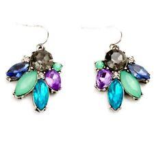 BLUE GREEN PURPLE GRAY CRYSTAL RHINESTONE Silver Leaf Drop Dangle Hook Earrings