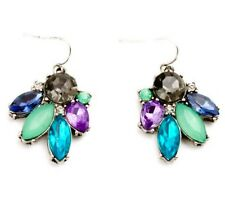 BLUE GREEN PURPLE GRAY CRYSTAL RHINESTONE Silver Floral Leaf Drop Hook Earrings
