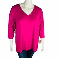 New JM Collection Womens Studded Mixed-Media Top Pink Size 2X NWT