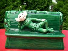 Vintage Pixie Elf Imp Green Planter.Treasure Craft.Label.Nice.Nr!